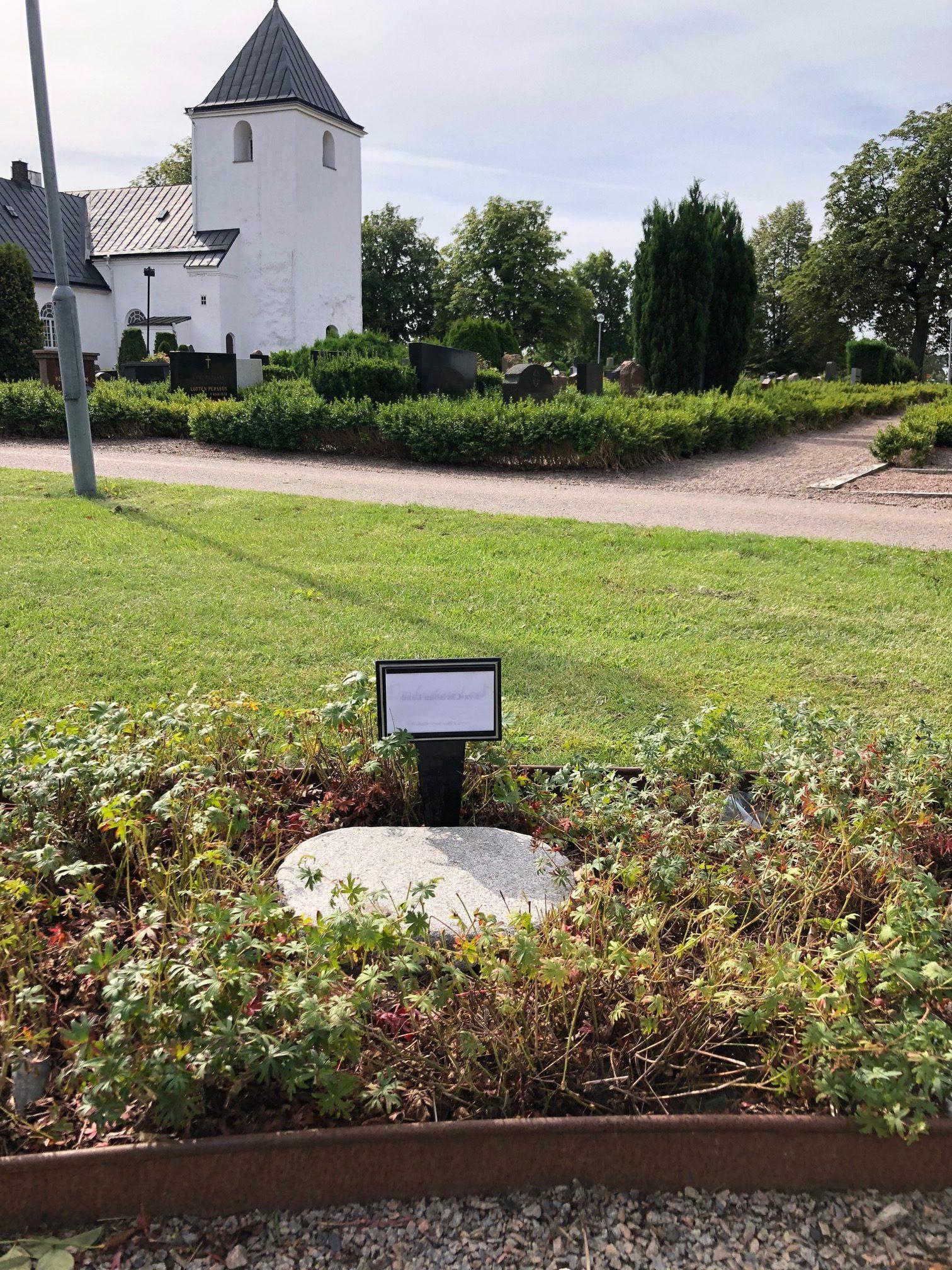 Tillfällig gravplats, skylt